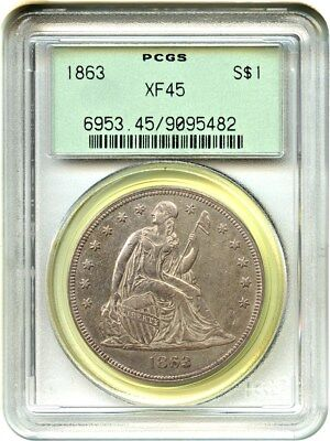 1863 $1 PCGS XF45 (OGH) Old Green Label Holder - Liberty Seated Dollar