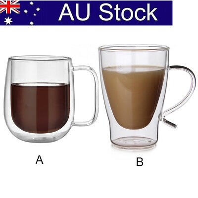 300ml Double Wall Glass Tea Coffee Cup Heat-resistant Double Layer Glass AU SHIP