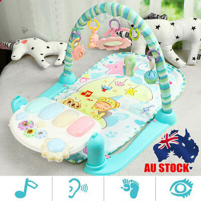 AU Baby Fitness Bodybuilding Frame Pedal Piano Music Play Activity Gym w/ Mat