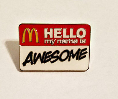 New McDonald's Lapel Pin Hello My Name Is Awesome Name Badge