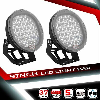 2x 9inch 185W LED DRIVING LIGHT OFF ROAD SPOTLIGHT WORK 4WD SUV LAMP - PAIR OZ