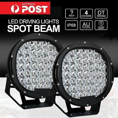 2x 9 inch LED SPOT Driving Lights Offroad 4X4 Round Spotlights Black 12V24V