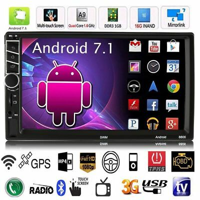 "Quad Core Android 7.0 3G WIFI 7"" Double 2DIN Car Radio Stereo MP5 GPS Player EEE"