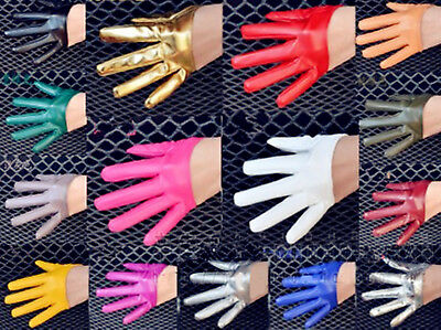 Woman Girl Party Opera Fancy Costume Syn Leather Half Dance Rock SHORT Gloves