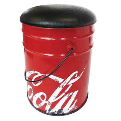 Coca Cola Retro Storage Stool Seat with Padded Cushion Bucket waste bin Bar Coke