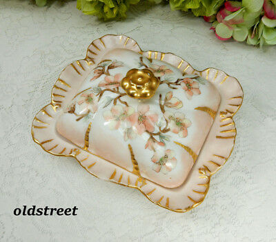 Beautiful Limoges Porcelain Covered Box Hand Painted Flowers Gold Artist Signed
