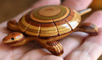 Amazing! Vintage Hand Carved Wood Turtle Figure, Figural Brooch, Pin