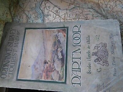 Dartmoor:1928-34 Tourist Map In Colour:ordnance,Picture Cover:series Lost In War