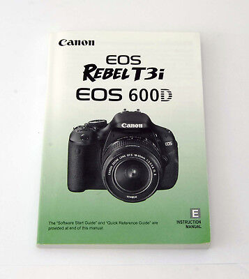 Canon EOS Rebel T3i English Instruction Manual Booklet