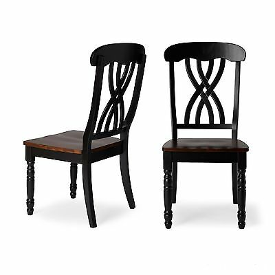 Traditional Country Design Antique Black Finish Dining Room Chair Set (2) New