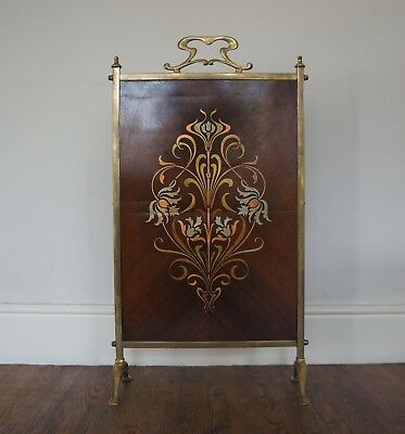 c1905 ANTIQUE ARTS & CRAFTS ART NOUVEAU BRASS COPPER INLAID MARQUETRY FIRESCREEN