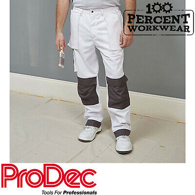 Trade Professional Painters Decorators White Work Trousers Pants Knee Pockets