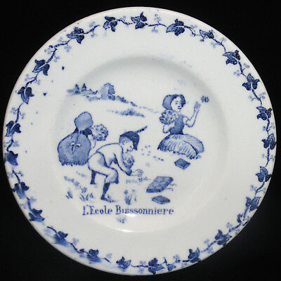 French Childs Plate  ~ Skipping School Picking Flowers c1900 Gien Amusements