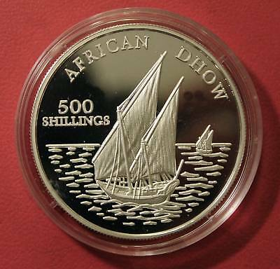 Tanzania 500 Shillings 2001,Schiffe,African Dhow,proof, 31,58 gr.Silber,PP, Rare