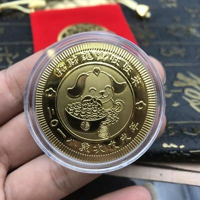 Chinese Zodiac Dog Year Gold Plated Coins 2018 New Year Fengshui lucky Coin