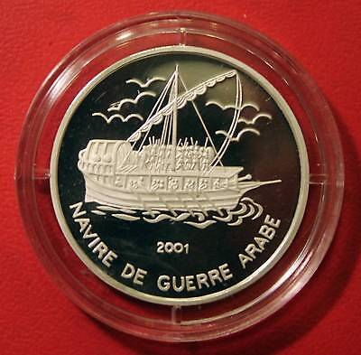 Tschad ,Tchad 1000 Francs 2001,Segelschiff,Guerre Arabe, proof, Silber, PP, Rare