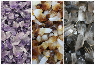 1/4 lb (4 oz) Lot Bulk Mixed Amethyst + Citrine + Smokey Quartz Crystal Points