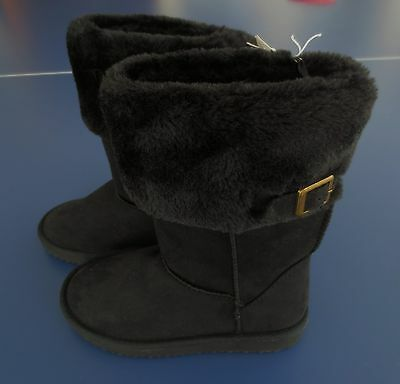 NEW Girl Size  *13* OLD NAVY Black Fur Lined Buckle Boots Faux Suede NWT!