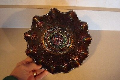 Fenton MINT Purple Carnival Glass Ruffled Bowl, Persian Medallion Pattern, RARE
