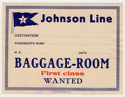 Shipping Company JOHNSON LINE Linjen Sweden * Old Luggage Label Kofferaufkleber