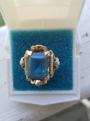 antique 14k ring beautiful blue stone pink/white gold