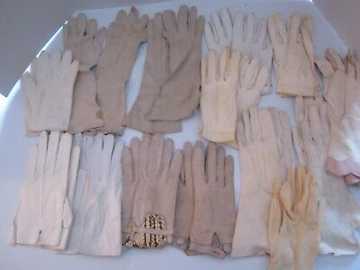 LOT of 14 PAIR VINTAGE LADIES LEATHER & COTTON GLOVES VARIOUS SHORT & ELBOW.