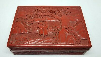 "Antique Chinese Red Cinnabar Lacquer Carved Box 5.5"" x 3.75"" Lot #2"