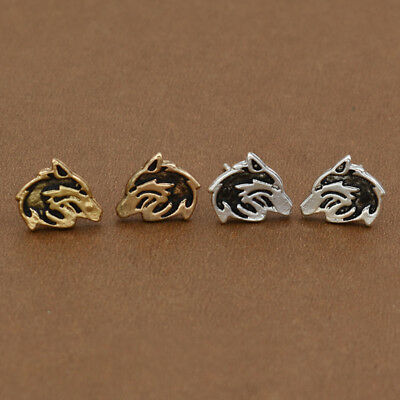 Gold Silver Mini Hollow Wolf Head Earrings Ear Stud Women Fashion Jewelry 1 Pair
