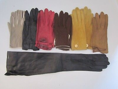 LOT of 7 PAIR VINTAGE LADIES LEATHER  GLOVES VARIOUS SHORT & ELBOW. TAN BLACK