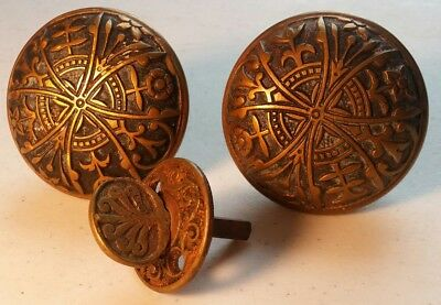 Pair of Antique Brass Decorative Knobs and Turner -- Beautiful Set!