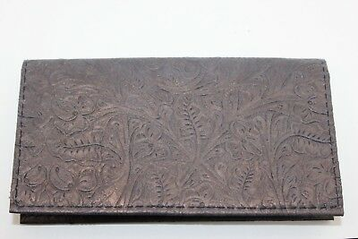 Slate Gray Western Floral Embossed Cowhide Leather Checkbook Cover