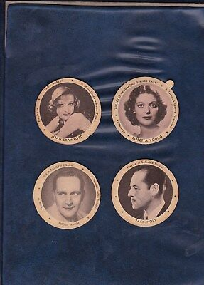 1934 DIXIE LID MOVIE STAR LOT  LARGE SIZE LIDS includes JOAN CRAWFORD  AUTHENTIC