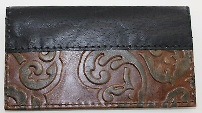 Chocolate W/ Green Leaves Leather Black Pigskin Trim Check Book  Cover Free Sh
