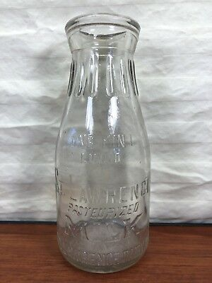 Vintage St. Lawrence Dairy Reading, PA. One Pint Embossed Glass Milk Bottle