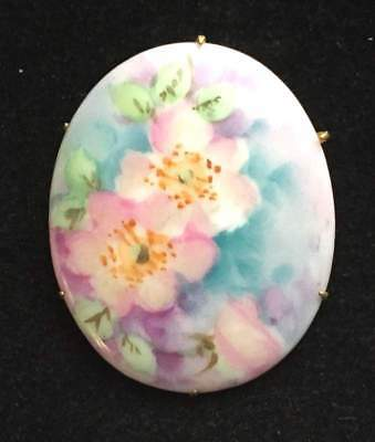 Vtg ANTIQUE Brooch Pin Art Deco or Victorian Hand Painted Flowers Ceramic lot i