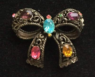 Vtg ANTIQUE Brooch Pin Art Deco or Victorian Rhinestone Bow Old Jewelry lot i