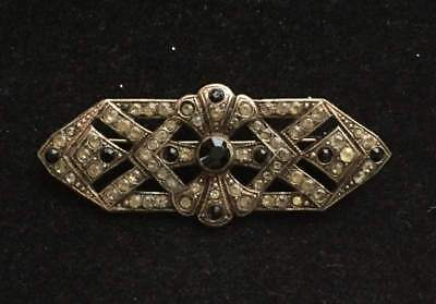 Vtg ANTIQUE Brooch Pin Art Deco or Victorian Rhinestone Black Old Jewelry lot t