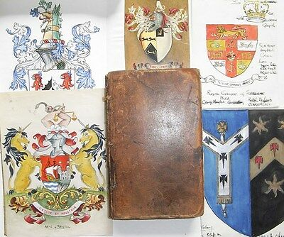 MANUSCRIPT on HERALDRY & 1739 Dictionary Crests Shields Blazons HAND PAINTED