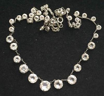 Vtg ANTIQUE Necklace Art Deco or Victorian Clear Crystal Rhinestone Bezel Set