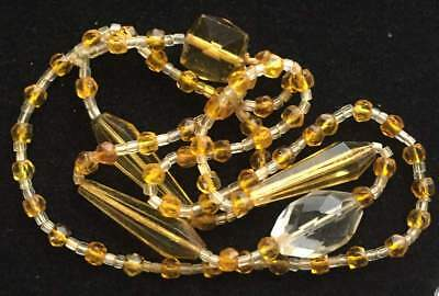 Vtg ANTIQUE Necklace Art Deco or Victorian Bead Clear Yellow Glass Crystal