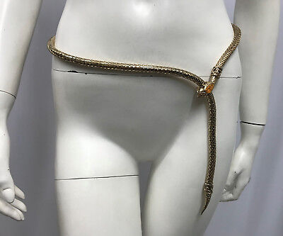 Whiting And Davis Snake Metal Mesh Belt Or Necklace Gold Faux Citrine Head Jewel