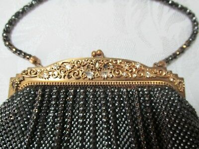 Vintage WHITING & DAVIS BLACK MESH EVENING PURSE - GOLD TONE RHINESTONE FRAME