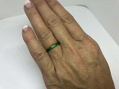 Signed Hidalgo Green Enamel 18K (750) Eternity Band Ring Size 4.5