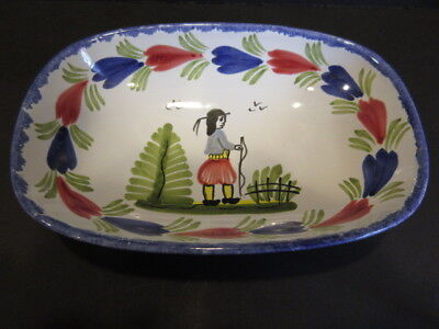 "Vintage HB QUIMPER France - 7"" Oval Vegetable Serving Bowl - Hand Painted"