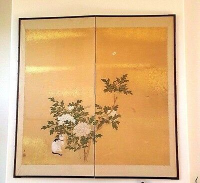 "Japanese 1880 original antique Cat & Chrysanthemums"" silk painting w/ appraisal"