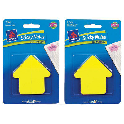 2 Packs Avery Sticky Notes See-through Large Arrow 2-pads (Yellow/Magenta) 60/Pk
