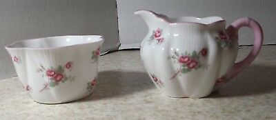Shelley Bone China England Cream and Open Sugar Bowl Rosebud  PINK TRIM