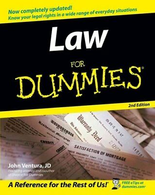 Law for Dummies, 2nd Edition USA version by John Ventura 9780764558306