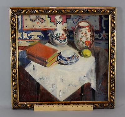 Antique Signed Post Impressionist Stillife Oil Painting Chinese Porcelain, Books
