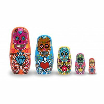 Day Of The Dead Nesting Dolls Set Collectible Matryoshka Style Toys Display